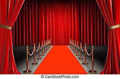 alfombra, cine, entrada, rojo