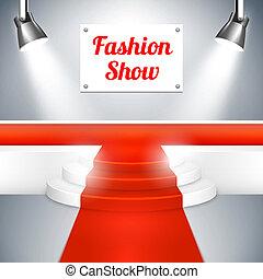 alfombra, moda, pasadizo, rojo, exposición