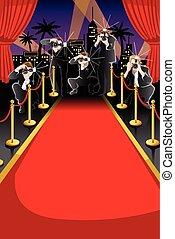 alfombra, paparazzi, plano de fondo, rojo
