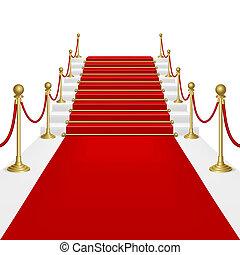 alfombra roja con escalera