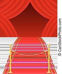 Alfombra roja con ilustración vectorial