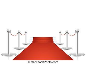 Alfombra roja con ilustración vectorial de escaleras