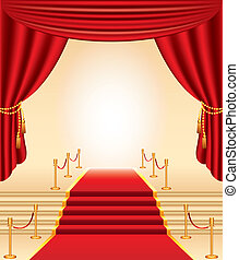 Alfombra roja, estantes dorados, escaleras y cortinas