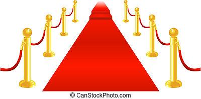 alfombra roja y cuerda de terciopelo