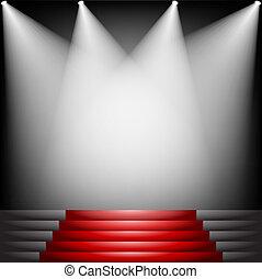 alfombra roja y escaleras