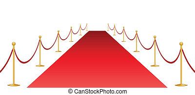 alfombra roja y estandarte