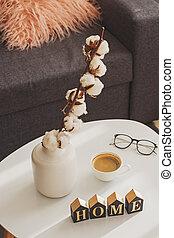 algodón, tabla, vida, pequeño, room., florero, ramitas
