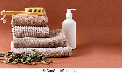 algodón, toallas, plano de fondo, espacio, marrón, copia, limpio, pila