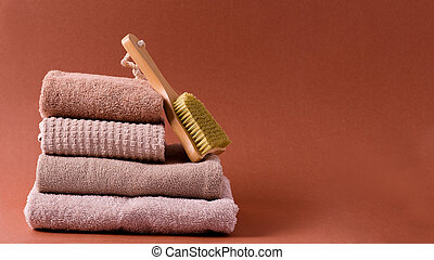 algodón, toallas, plano de fondo, espacio, marrón, copia, pila