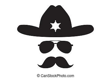 alguacil, tupido, bigote