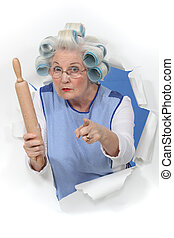 alguien, alfiler, amenazador, pelo, abuelita, rodante, bigudíes