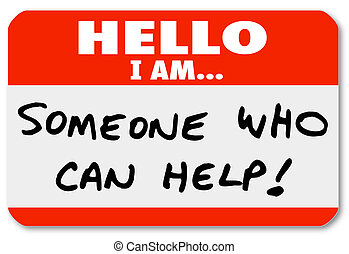 alguien, ayuda, nametag, lata, palabras, hola