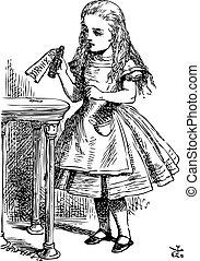 Alice está recogiendo una botella pequeña sobre la mesa