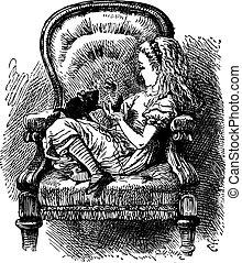 Alice habla con el gatito, a través del espejo y de lo que Alice encontró en la cosecha original de libros