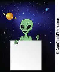 Alien con signo en blanco