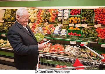 alimento, 3º edad, supermar, compras