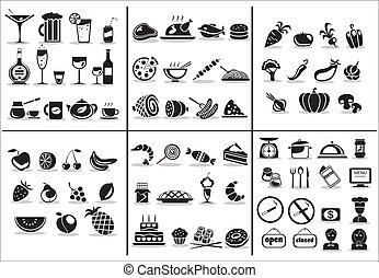alimento, 77, conjunto, bebida, iconos