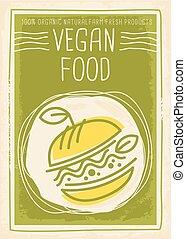 alimento, bandera, diseño, vegetariano, promocional