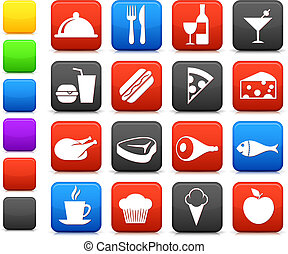 alimento, bebida, colección, icono