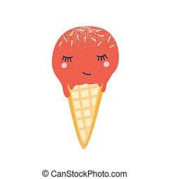 alimento, blanco, lindo, character., crema, delicioso, hielo, dulce, fondo., illustration., cremoso, sprinkles., frío, caricatura, bocado, postre, aislado, verano, plano, vector, cono, barquillo, congelado