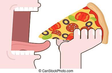 alimento, boca, pizza, de par en par, tongue., pizza., hombre, comida, mano., abierto, eating., dientes, consumo