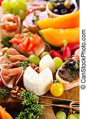 alimento, buffet, antipasto-, bocado, salud