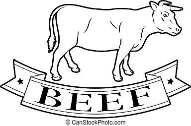 alimento, carne de vaca, etiqueta