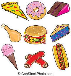 alimento, chatarra, elementos, iconos