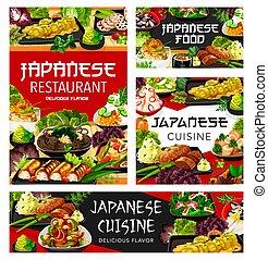 alimento, cocina, platos, japonés, menú, restaurante