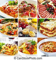 alimento, collage, italiano