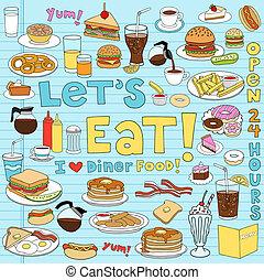 alimento, comensal, conjunto, doodles, cuaderno