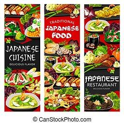 alimento, comidas, cocina, japonés, platos, menú, japón