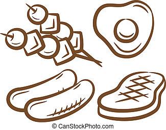 alimento, conjunto, barbacoa, icono