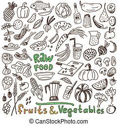 alimento, crudo, -, colección, doodles