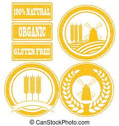 alimento, etiquetas, colección, sellosde goma, grano, cereal, naranja, productos, entero