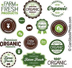 alimento, etiquetas, orgánico