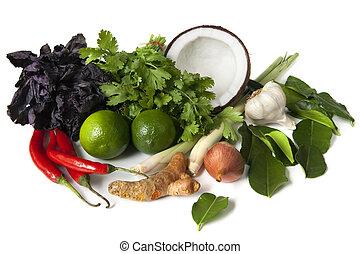 alimento, ingredientes, tailandés