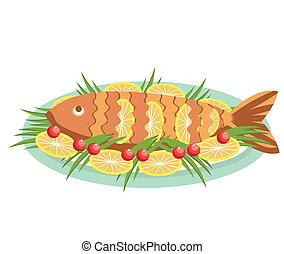 alimento, pez, aislado, cocinado, vector, limones, blanco, .vector