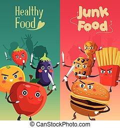 alimento sano, contra, malsano