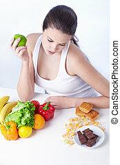 alimento sano, o, malsano