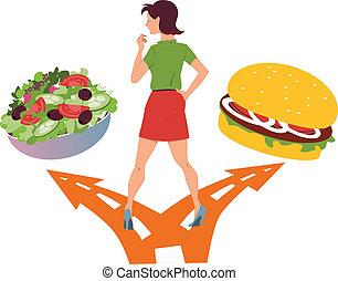 alimento sano, o, rápido
