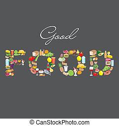 alimento, señal, bueno, artículos