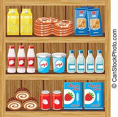 alimento, shelfs, supermarket.