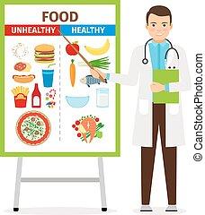 alimento, sobre, nutricionista, actuación, cartel