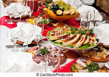 alimento, tabla, decoración, conjunto, abastecimiento