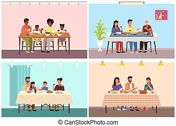 alimento, topic, familias, tradicional, diferente, conjunto, ilustraciones, países, cenar