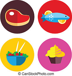 alimento, vegetariano, carne, iconos