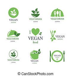 alimento, vegetariano, vector, emblemas, vegetariano