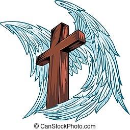 Alitas de ángel con cruz de madera