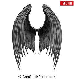 Alitas de ángel plegadas negras. Vector.